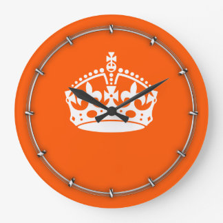 KEEP CALM CROWN Icon on Orange Customize This Large Clock