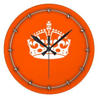 KEEP CALM CROWN Icon on Orange Customize This Wall Clocks