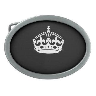 Keep Calm Crown on Black Oval Belt Buckles