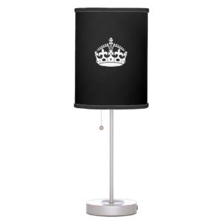 KEEP CALM CROWN on Black Customize This! Table Lamp