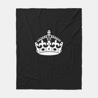 Keep Calm Crown on Black Fleece Blanket