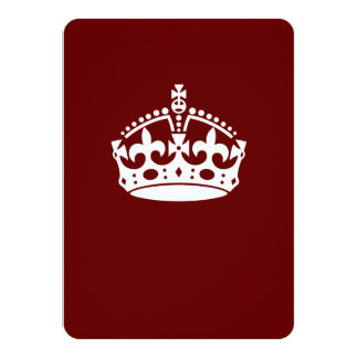 Keep Calm Crown on Burgundy Red 4.5x6.25 Paper Invitation Card