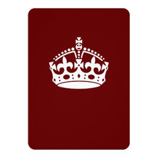 "Keep Calm Crown on Burgundy Red 4.5"" X 6.25"" Invitation Card"
