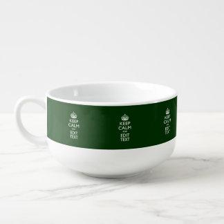 KEEP CALM CROWN on Green Customize This Soup Mug