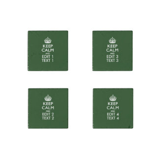 KEEP CALM CROWN on Green Customize This Stone Magnet