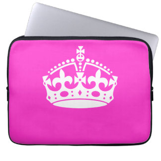 KEEP CALM CROWN on Hot Pink Customize This! Laptop Sleeve