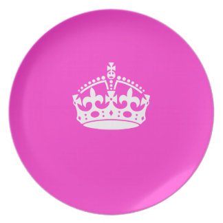 KEEP CALM CROWN on Hot Pink Customize This! Plates