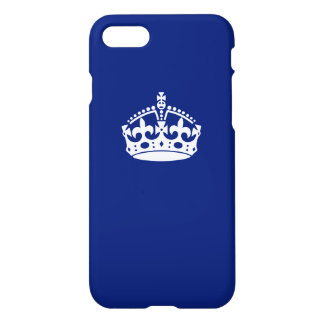 Keep Calm Crown on Navy Blue iPhone 7 Case