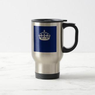 Keep Calm Crown on Navy Blue Coffee Mug