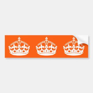 KEEP CALM CROWN on Orange Customize it Bumper Sticker