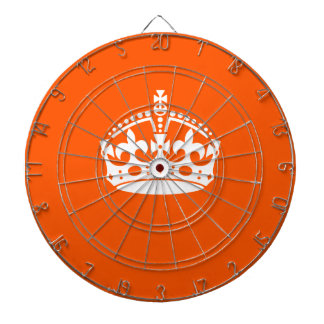 KEEP CALM CROWN on Orange Customize it Dartboard With Darts