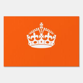 KEEP CALM CROWN on Orange Customize it Lawn Sign