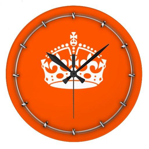 KEEP CALM CROWN on Orange Customize This! Wall Clock