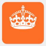 KEEP CALM CROWN on Orange Customize This! Square Sticker