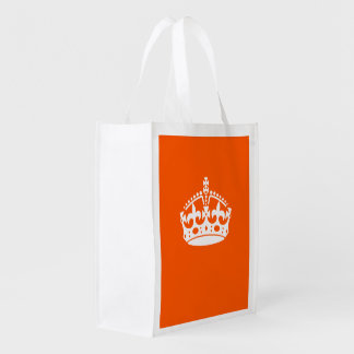 KEEP CALM CROWN on Orange Customize This! Reusable Grocery Bags