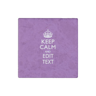 KEEP CALM CROWN on Purple Customize This with text Stone Magnet