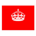 KEEP CALM CROWN on Red Customize This! Post Cards