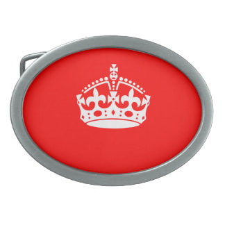 KEEP CALM CROWN on Red Decor Belt Buckle