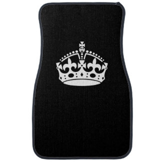 Keep Calm Crown on Solid Black Car Mat