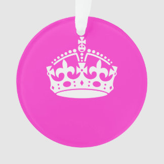 KEEP CALM CROWN Royal Icon on Pink Customize it Ornament