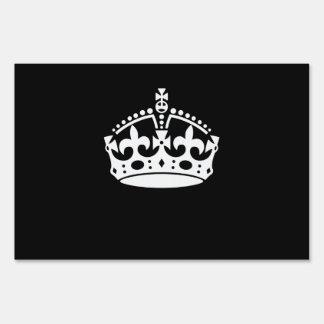 KEEP CALM CROWN Symbol on Black Lawn Sign
