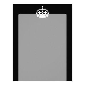 KEEP CALM CROWN Symbol on Black Letterhead