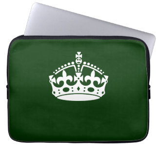 Keep Calm Crown Symbol on Forest Green Computer Sleeve