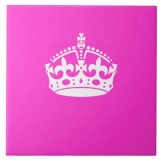 KEEP CALM CROWN Symbol on Hot Pink Decor Tile