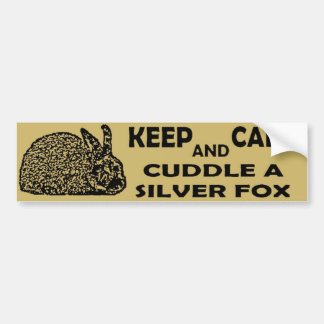 Keep Calm & Cuddle a Silver Fox Rabbit Car Bumper Sticker