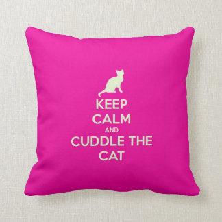 Keep Calm & Cuddle The Cat Throw Pillows