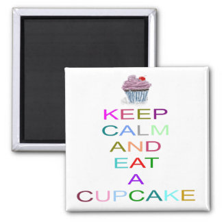 keep calm cupcake with cherry 2 inch square magnet