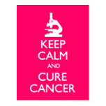 Keep Calm Cure Cancer Postcard