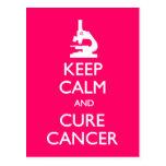 Keep Calm Cure Cancer Postcards