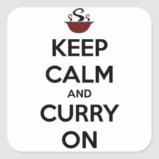 keep calm curry on square sticker