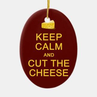 Keep Calm & Cut The Cheese ornament, customize Ceramic Ornament