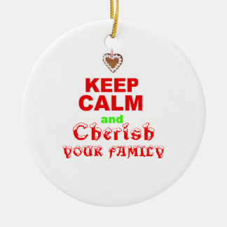 """""""Keep Calm"""" Cute Love of Family Xmas Holiday Quote Double-Sided Ceramic Round Christmas Ornament"""