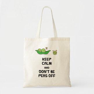 Keep Calm Cute Peas Cartoon Tote Bag