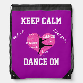 Keep Calm Dance On Drawstring Backpack