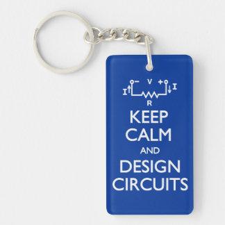 Keep Calm Design Circuits Rectangular Acrylic Keychains