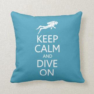 Keep Calm & Dive On custom color pillow