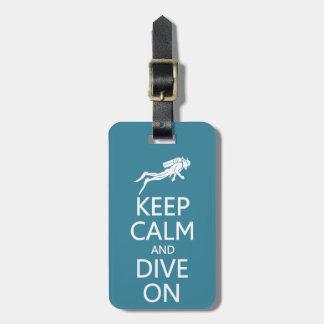 Keep Calm & Dive On custom luggage tag