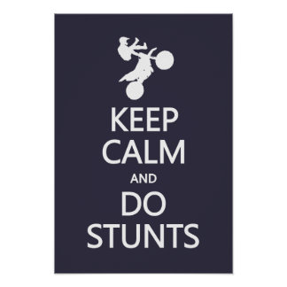 Keep Calm & Do Stunts custom color poster