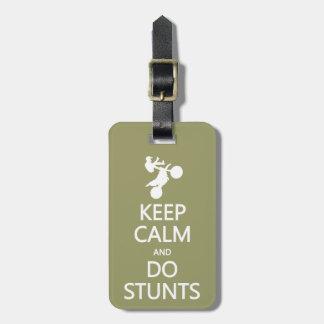 Keep Calm & Do stunts custom luggage tag