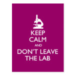 Keep Calm Don't Leave the Lab postcard