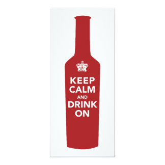 "Keep Calm & Drink 80th Birthday Party Invitation 4"" X 9.25"" Invitation Card"