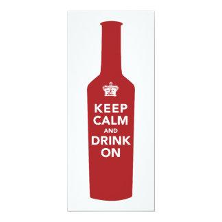 "Keep Calm & Drink On Birthday Party Invitation 4"" X 9.25"" Invitation Card"