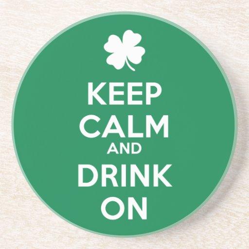Keep Calm Drink On Shamrock  St Patricks Day Beverage Coaster