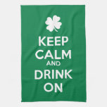 Keep Calm Drink On Shamrock  St Patricks Day Hand Towel