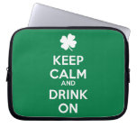 Keep Calm Drink On Shamrock  St Patricks Day Laptop Computer Sleeve
