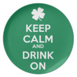 Keep Calm Drink On Shamrock  St Patricks Day Plate